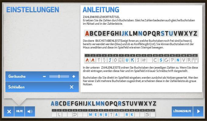 zahlen kreuzwortsrätsel screenshot